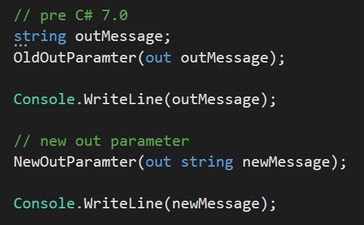 new in C# 7.0 the out parameter