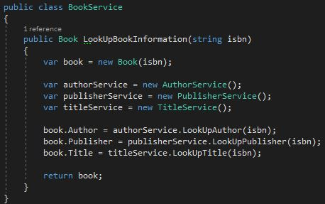 Implementation of the BookService class