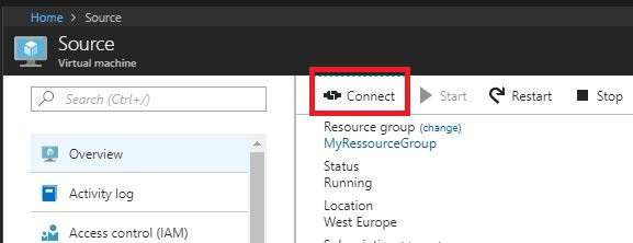 Download the remote connection to the Azure ARM virtual machines