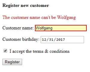 Remote validation of the customer name