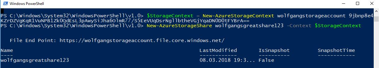 Create a file share using PowerShell