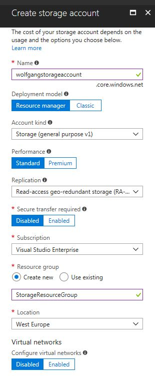 Create a new Azure storage account