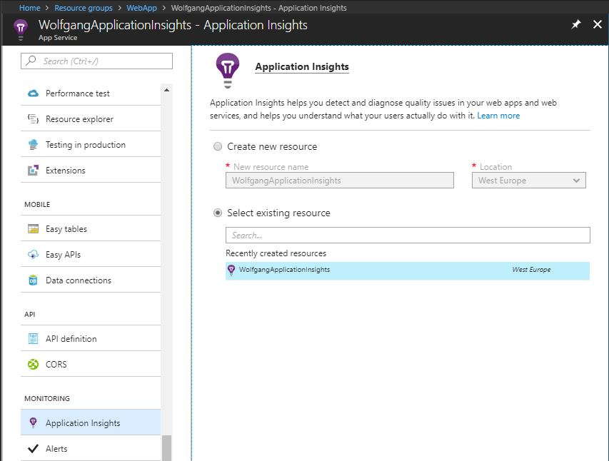 Enable Application Insights for your WebApp