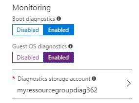 Enable diagnostics when provisioning a VM