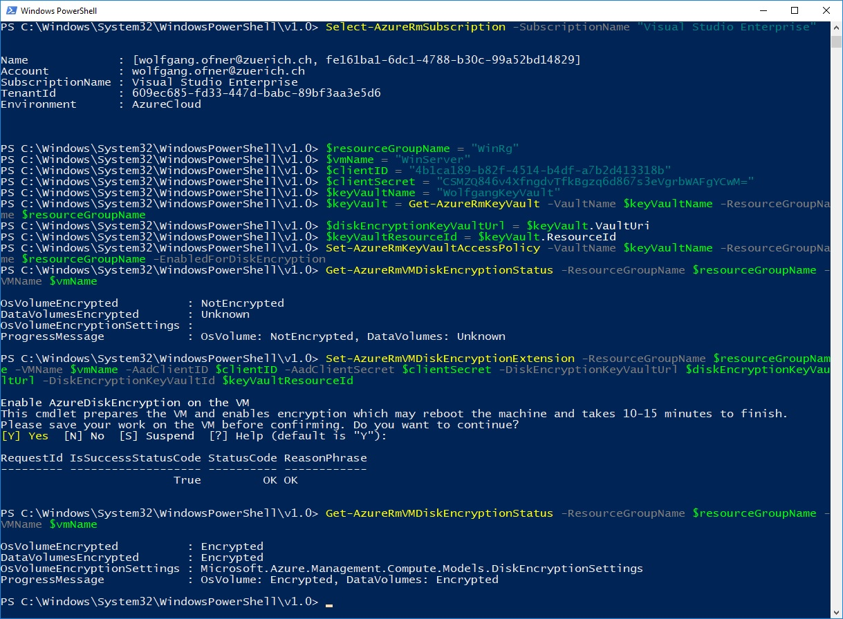 Encrypt a Windows VM using PowerShell