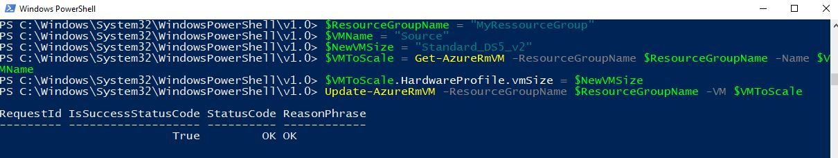 Scale your VM using PowerShell