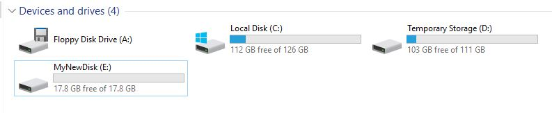 The Windows Explorer with the new mapped disk