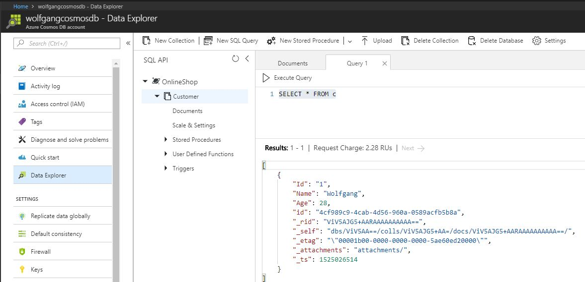 Create a query in the Azure portal using SQL