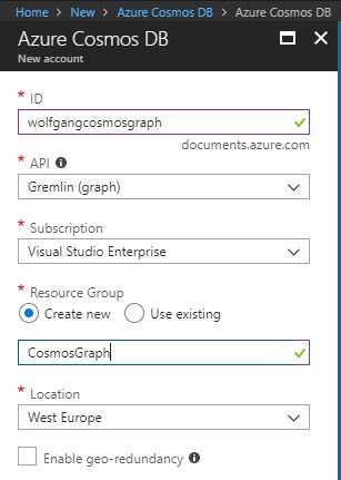 Create an Azure Cosmos DB with a Graph API