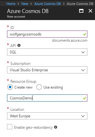 Create an Azure Cosmos DB with a SQL API