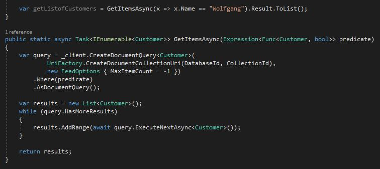 Get a list of customers which fit the LINQ expression