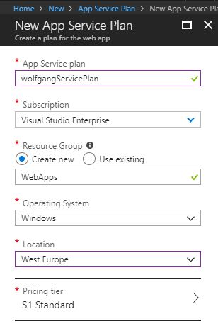 Create a new App Service plan