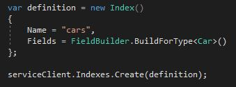 Create an index object for the search