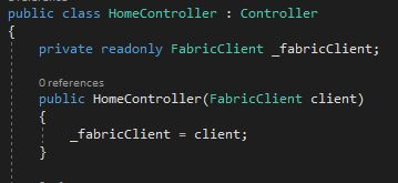 Inject FabricClient into the HomeController