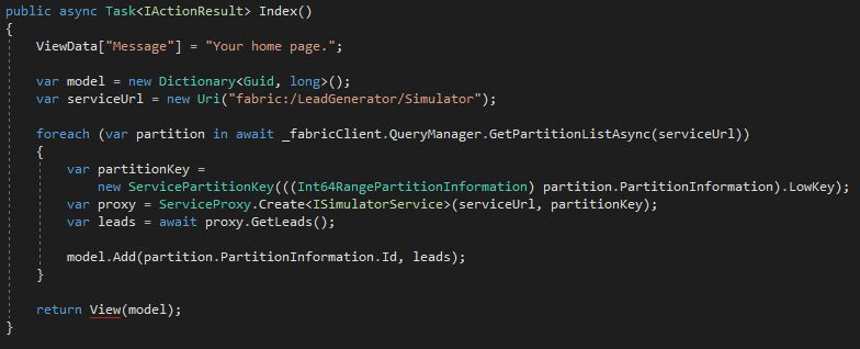 Modify the Index method to call the Simulator service