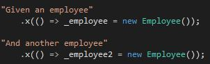 Setting up two employee objects for the xBehave tests