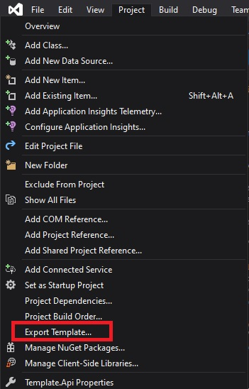 Export the Visual Studio Template