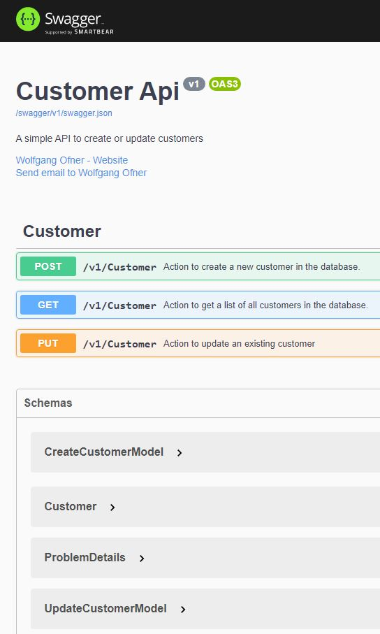 Swagger UI of the Microservice