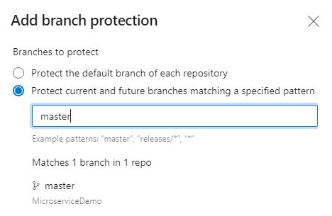 Add a Pull Request Policy for the master branch