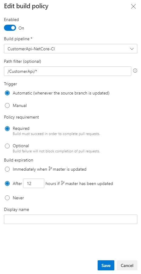Add a build policy for the CustomerApi to the Pull Request