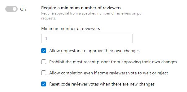 Configure the minimum number of reviewers