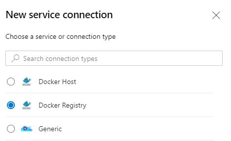Select Docker Registry for your service connection