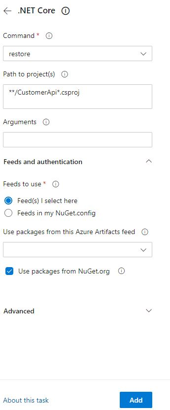 Add Nuget restore to the CI pipeline