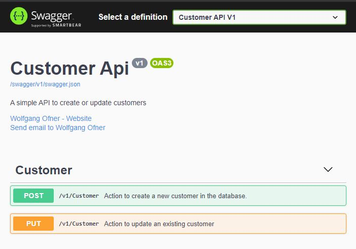 The Swagger UI of the CustomerApi microservice