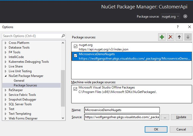 Add the NuGet feed as package source