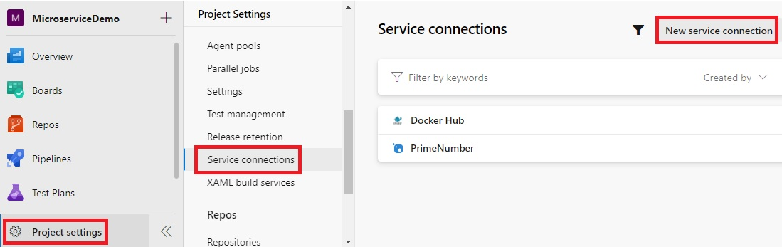 Create a new service connection