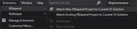 Create a new NDepend project