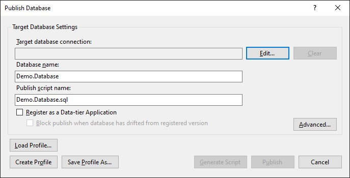 Configure the database deployment